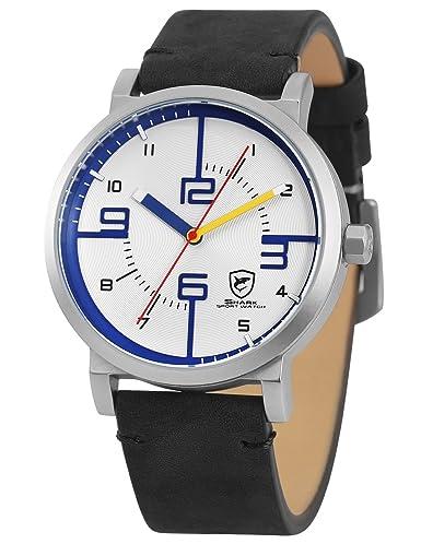 SHARK Hombre Deportivos Cuarzo Relojes de Pulseras Cuero SH570: Amazon.es: Relojes