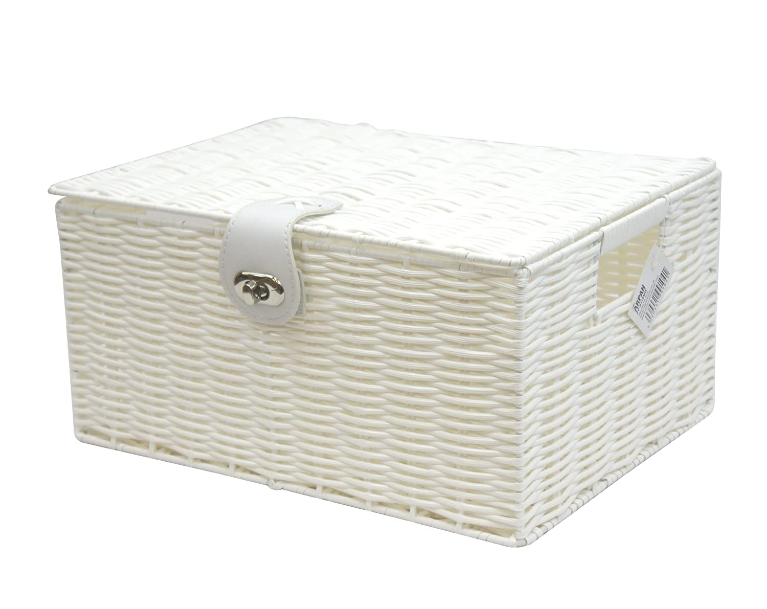 Arpan Medium Resin Woven Storage Basket Box With Lid & Lock - White