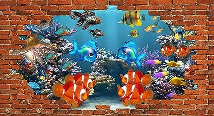 Avikalp Exclusive 3DAZP0622 Sea Reef Underwater Fish Coral Red Brick HD 3D Wallpaper 10 X