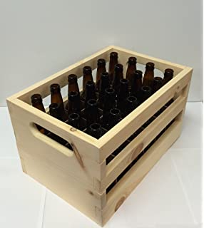 Hand Made Wooden Beer Bottle Crate. 24-Bottle Capacity. Includes (24)