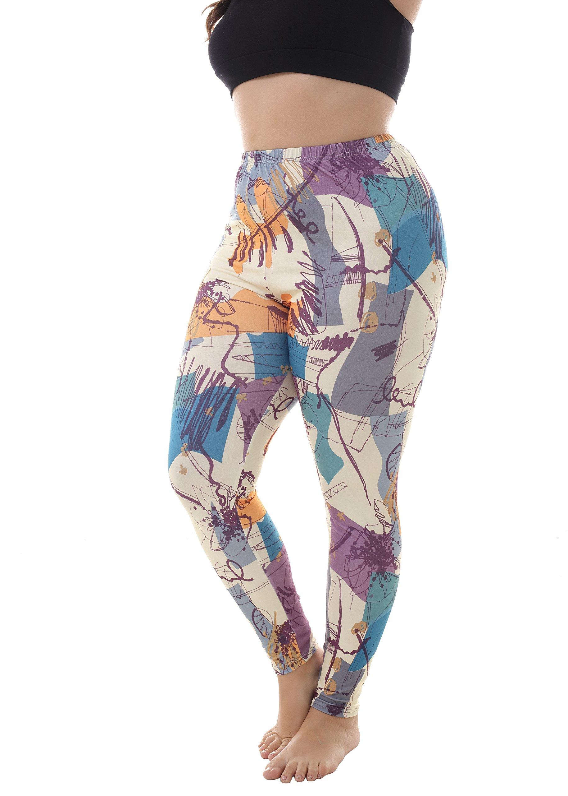 ZERDOCEAN Women's Plus Size Lightweight Printed Leggings for Summer style-803 2X