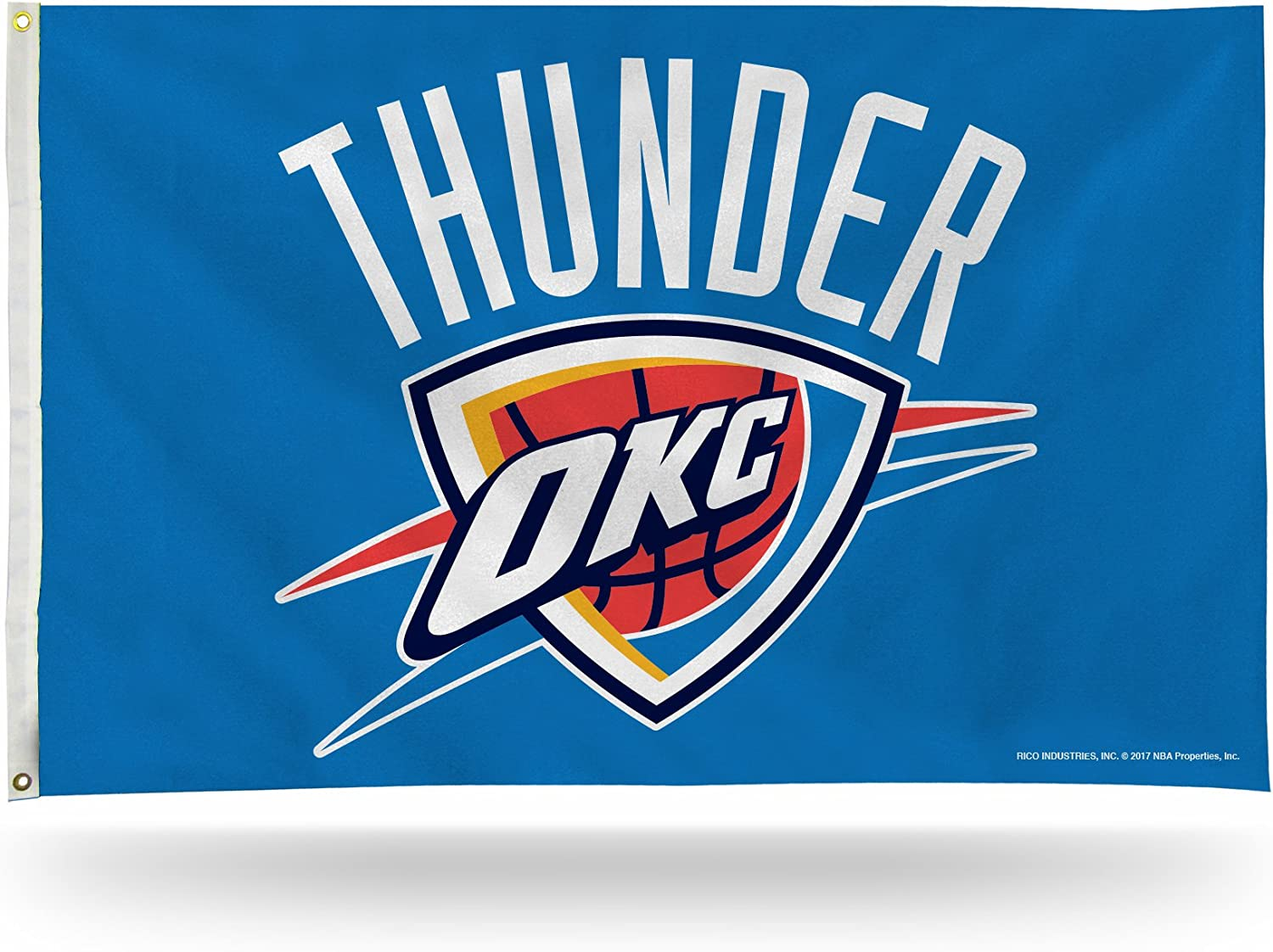 Rico Industries FGB68002NBA Oklahoma City Thunder 3-Foot by 5-Foot Single Sided Banner Flag with Grommets