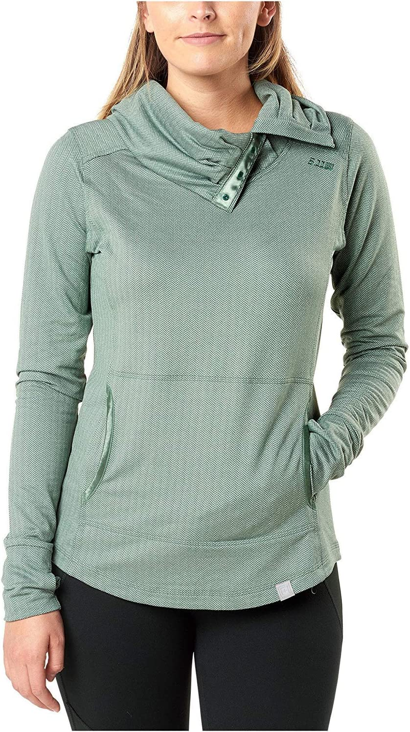 5.11 Tactical Women's Aphrodite Cowl Neck Pullover, Polyester/Spandex Blend Fabric, Style 62026