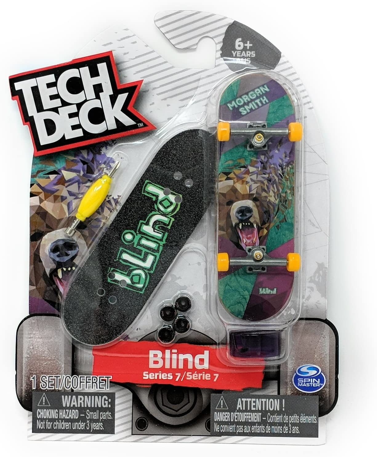 Amazon Com Tech Deck Blind Series 7 Morgan Smith Bear Rare Fingerboard Skateboard Mini Toy Skate Board Toys Games