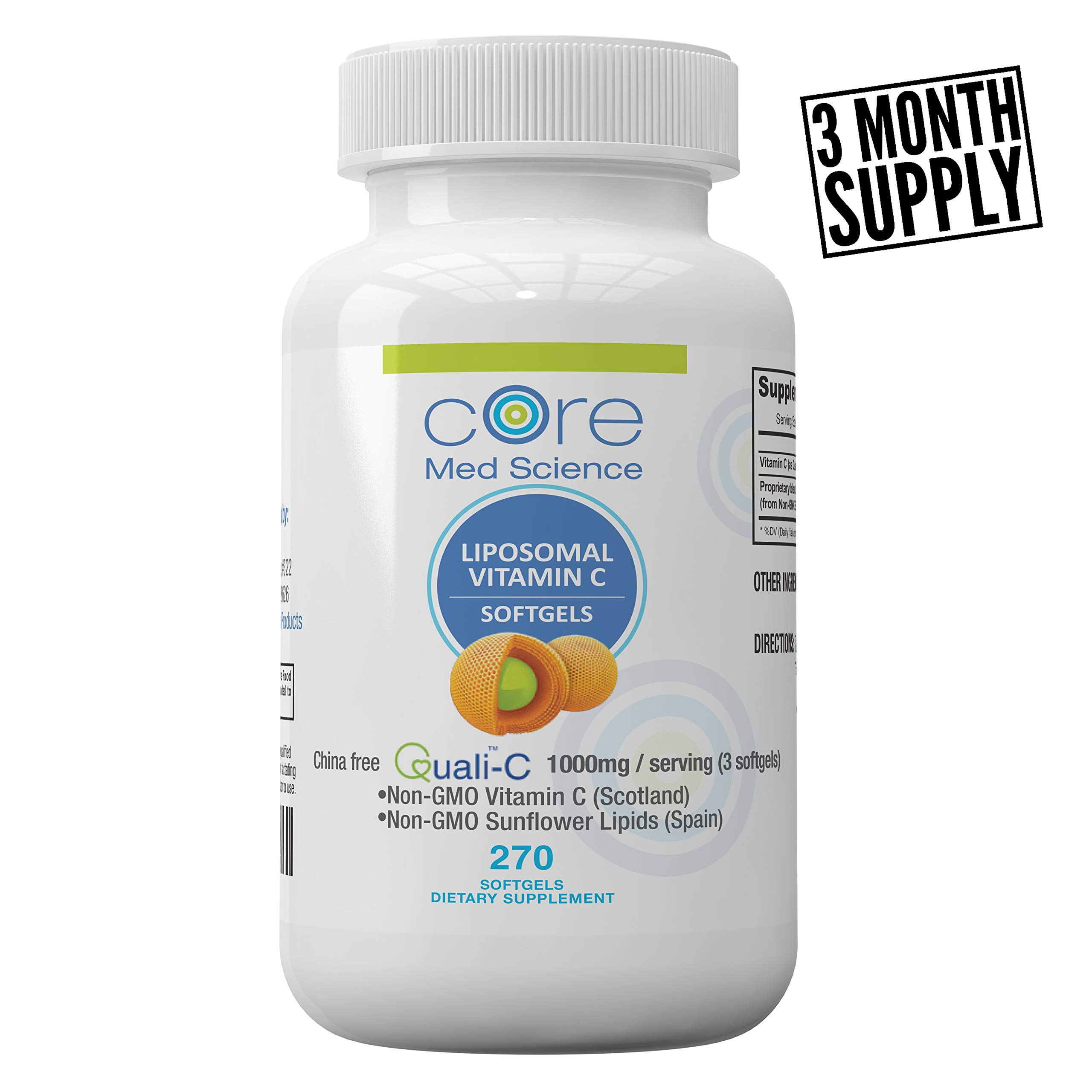 Liposomal Vitamin C Softgels 1000mg/dose - 3 Month Supply - 270 softgels - China-Free Quali®-C Scottish Ascorbic Acid - High Absorption Immunity & Collagen Booster Supplement - Non-GMO, Non-Soy by IV for Life