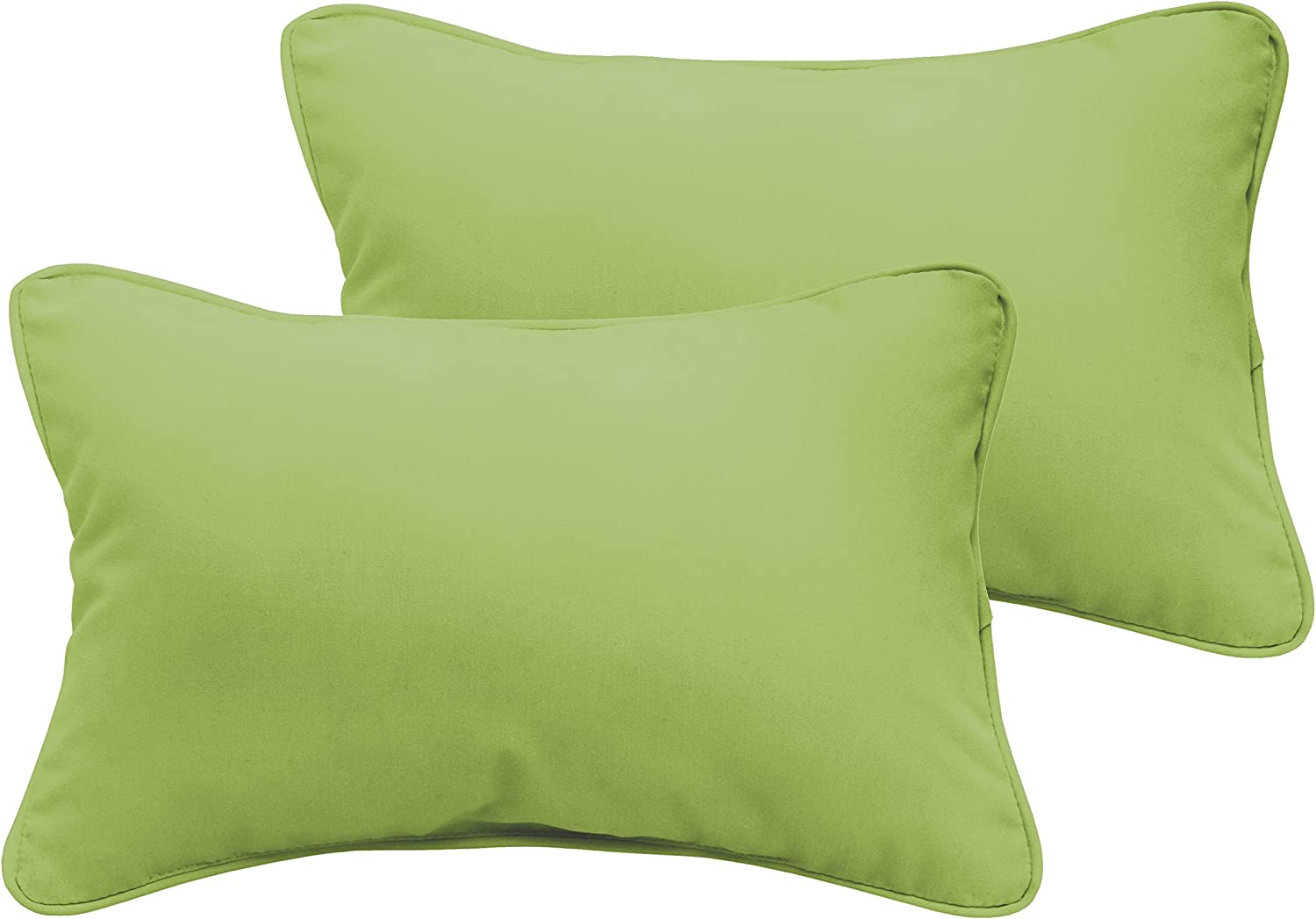 Mozaic Company AZPS7168 Indoor Outdoor Lumbar Pillows with Corded Edges, Set of 2, 12 x 18, Apple Green