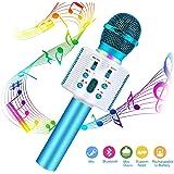 Micrófono Inalámbrico Karaoke Bluetooth, FishOaky Portátil Altavoces Microfono, LED Microfono Niños para Cantar, Función de Eco, Compatible con Android, PC o Teléfono Inteligente
