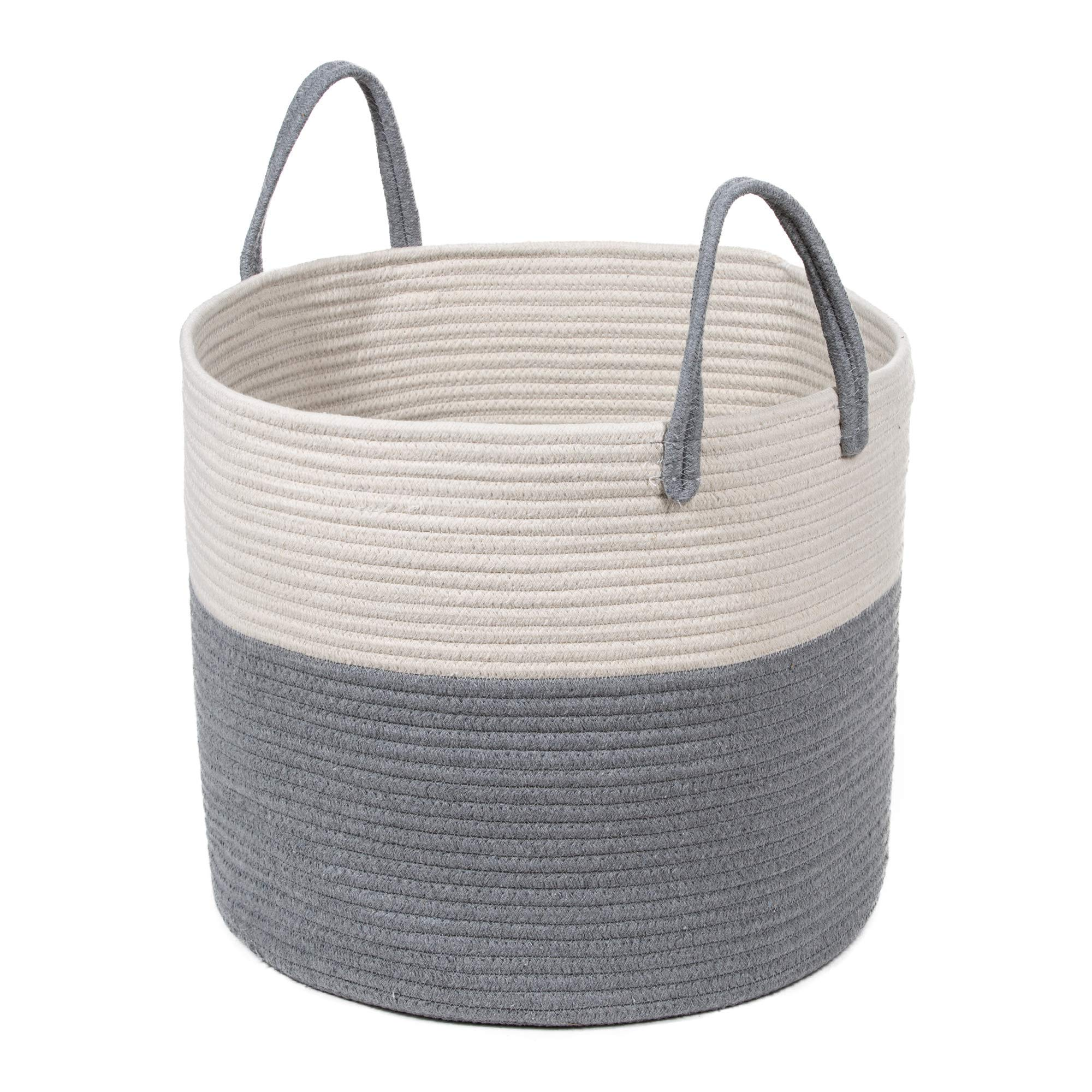 Extra Large Cotton Rope Basket 17 x 14.7 with Handles, for Baby Laundry Basket Woven Blanket Basket Nursery Bin