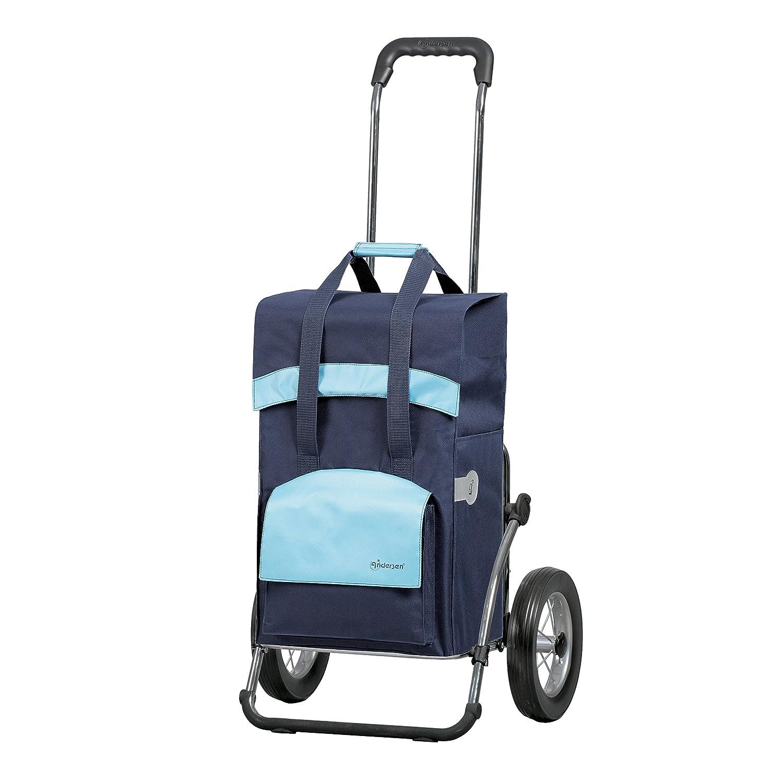 Andersen Carro de compra Royal con bolsa Holly azul marco de acero y ruedas con radios metallicos volumen 49L
