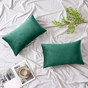 Woaboy Pack of 2 Velvet Throw Pillow Covers Decorative Pillowcases Solid Soft Cushion Covers Pillow Case Square for Couch Living Room Sofa Bedroom Car 12x20 inch 30x50cm Green