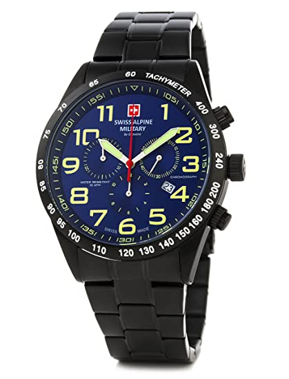 Swiss Alpine Military by Grovana Hombre Reloj Chrono 10 ATM Black IP Blue 7047.9175sam: Amazon.es: Relojes