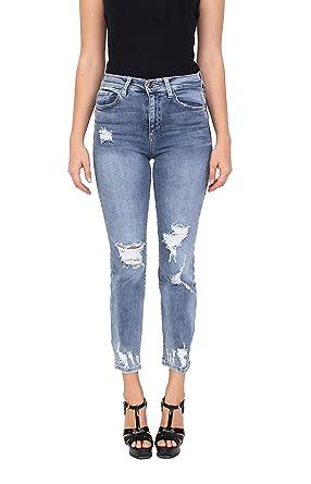 6c13b04aff7 Sneak Peek Women High Rise Distressed Straight Jeans Whisker Detail at  Amazon Women's Jeans store