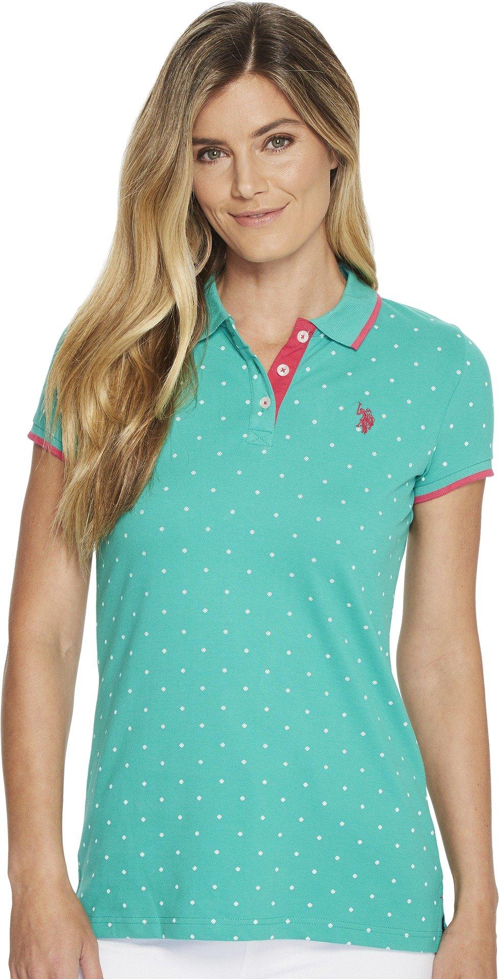 U.S. Polo Assn. Women's Short Sleeve Fashion Polo Shirt, Emerald Wave, S