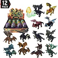 Liberty Imports 12 Pack Deluxe 3D Action Figures Realistic Figurine Puzzles in Jurassic Hatching Eggs | Ideal Kids Toy Party Favors Bulk Supplies (Dragons)