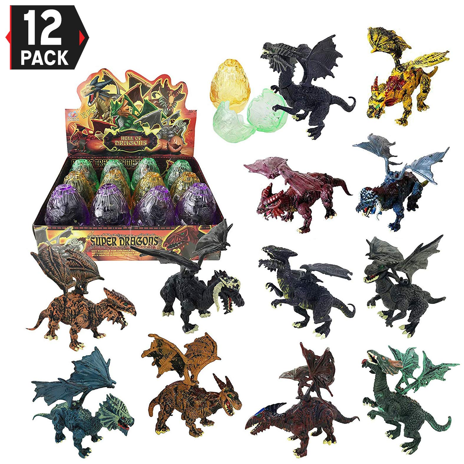 Liberty Imports [12 Pack] Deluxe 3D Dragon Figures Realistic Dragon Figurine Puzzles in Hatching Eggs for Kids Toy Party Favors (5-Inch)