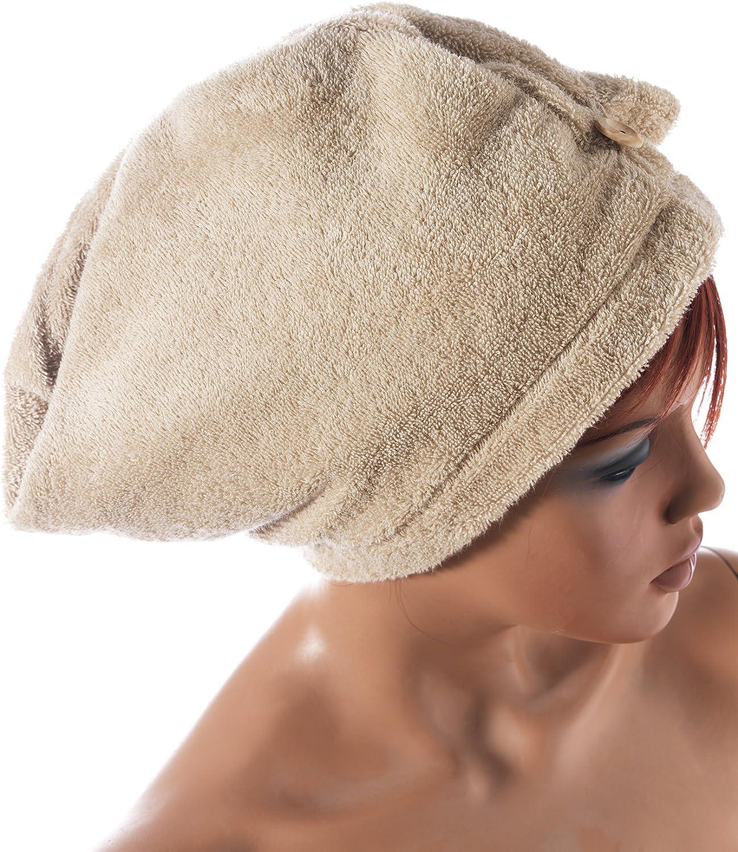 1 Hair Absorbente para la Cabeza de ba/ño Toalla de Pelo de algod/ón org/ánico Puro Turbante de Pelo Toalla Turbante Seventex Toalla y Toallas saludables 1 Bath algod/ón Gris