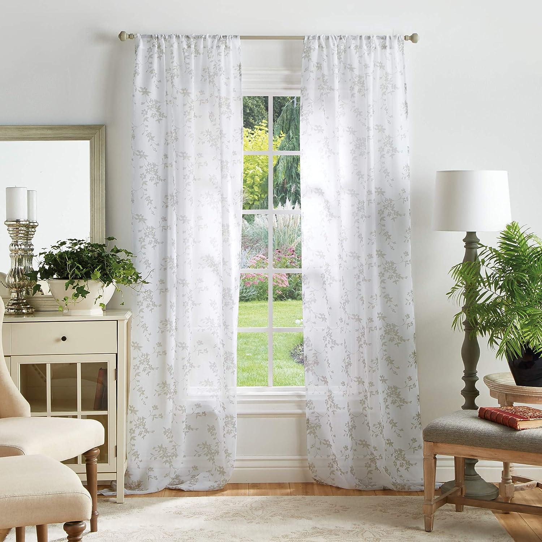 Martha Stewart Bellefield Floral Sheer Rod Pocket Window Curtain Panel Pair 95 Linen Home Kitchen