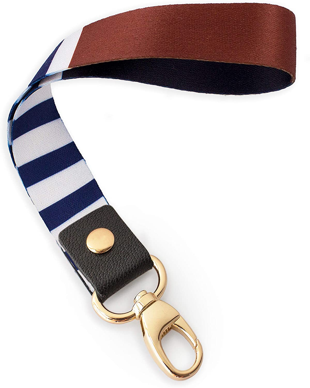 Lightweight Items etc Charms Camera for Key Chain SENLLY Classic Stripes Hand Wrist Lanyard Premium Quality Wristlet Strap with Metal Clasp and Genuine Leather Cell Mobile Phone