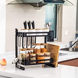 TOLEAD 2 Tier Spice Rack Kitchen Counter Organizer Heavy Duty Multifunctional Seasoning Storage Shelf with 3 Extra Side Hooks for Knife Block, Cutlery, Utensil and Board Holder, Black