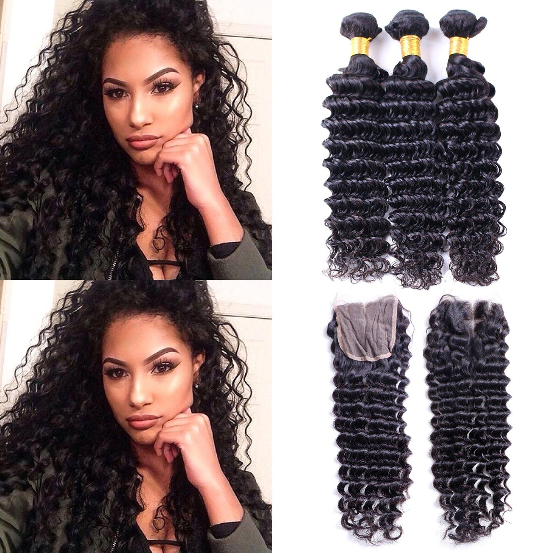 Amazon Brazilian Deep Wave Hair 3 Bundles With Closure 7a
