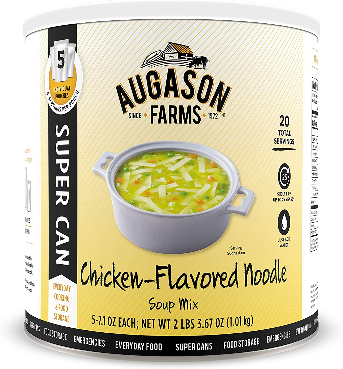 Augason Farms Chicken Noodle Chicken Flavored Soup Mix 2 lb 6.5 oz No. 10 Super Can, Model:5-10165