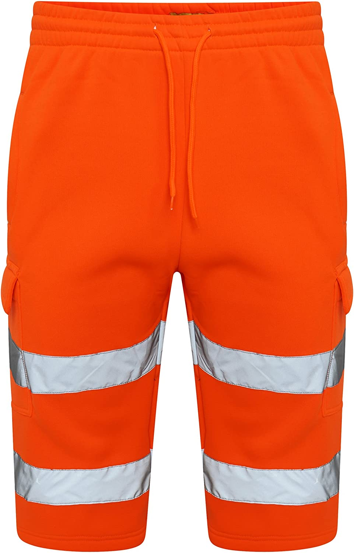 INDX-Clothing Hi Viz Vis Fleece Shorts High Visibility Reflective Safety Summer Combat Work Wear Multi Pockets Elasticated Waist Shorts