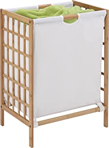 Honey-Can-Do HMP-03770 Bamboo Laundry Hamper with Natural Liner, 16 by 13 by 25-Inch