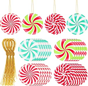 Jetec 24 Pieces Christmas Candy Swirl Decorations Peppermint Candies Ornaments Peppermint Colorful Candies Decorations Christmas Peppermint Decorations for Xmas Tree Hanging Christmas Decor