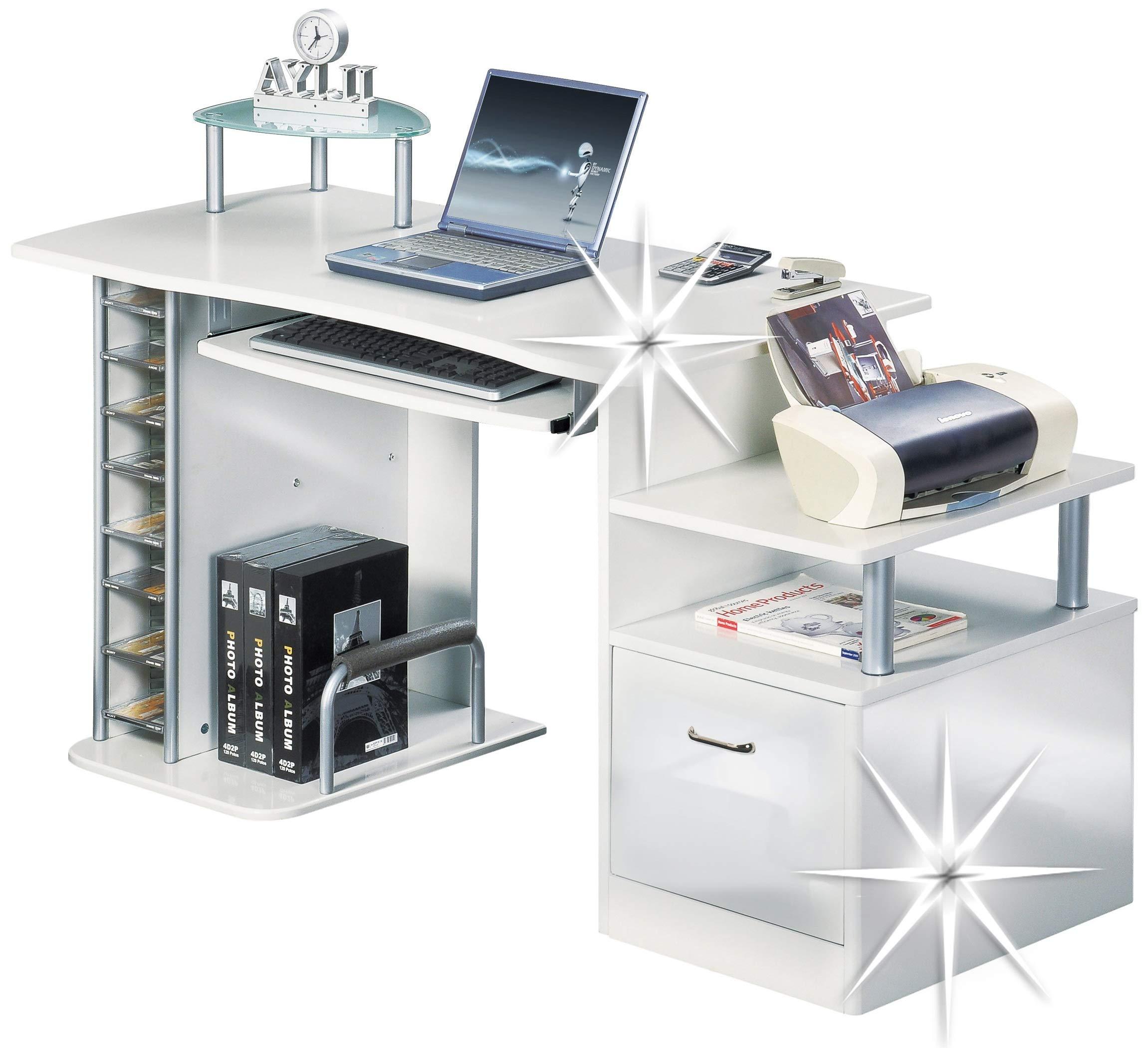 SixBros. Mesa de ordenador - S-202A/732 - Estructura MDF Color blanco
