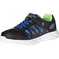 Skechers Boy's Gore & Strap Sneaker W/QTR HI, Black Synthetic/Blue & Lime Trim