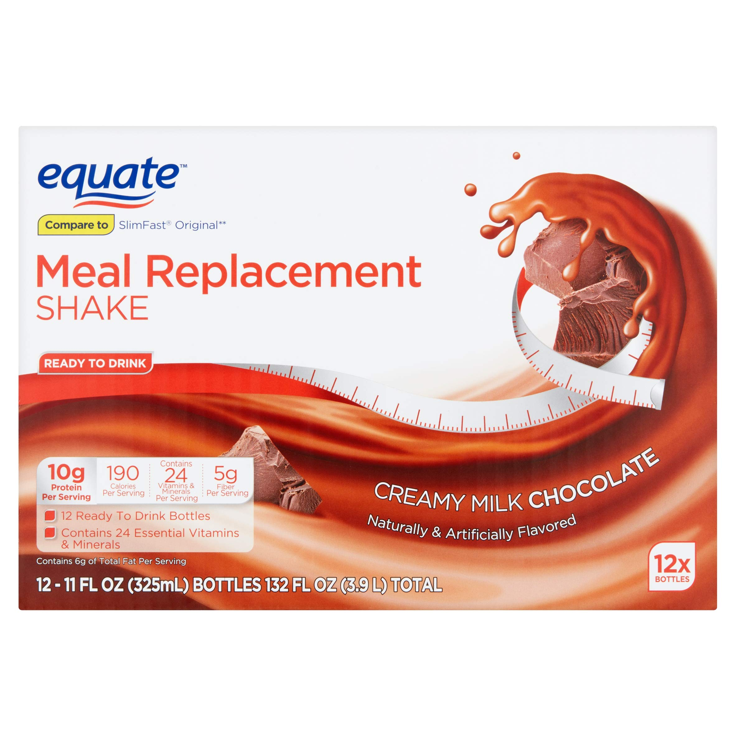 Equate Meal Replacement Shake, Creamy Milk Chocolate, 11 fl oz, 12 Count (Pack of 2) by Equate's (Image #3)