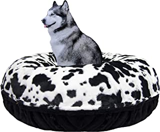 product image for Bessie and Barnie Signature Black Puma/ Spotted Pony Extra Plush Faux Fur Bagel Pet / Dog Bed (Multiple Sizes)
