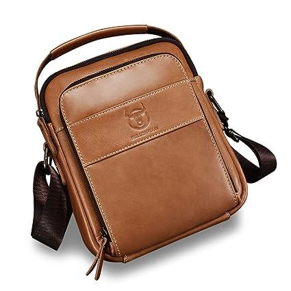 ZEROVIDA Borsello Uomo Tracolla in Pelle Cuoio Borse a Spalla Borsa di Affari Messenger Bag con Maniglia Crossbody Borsa da Viaggio per Tablet Ipad