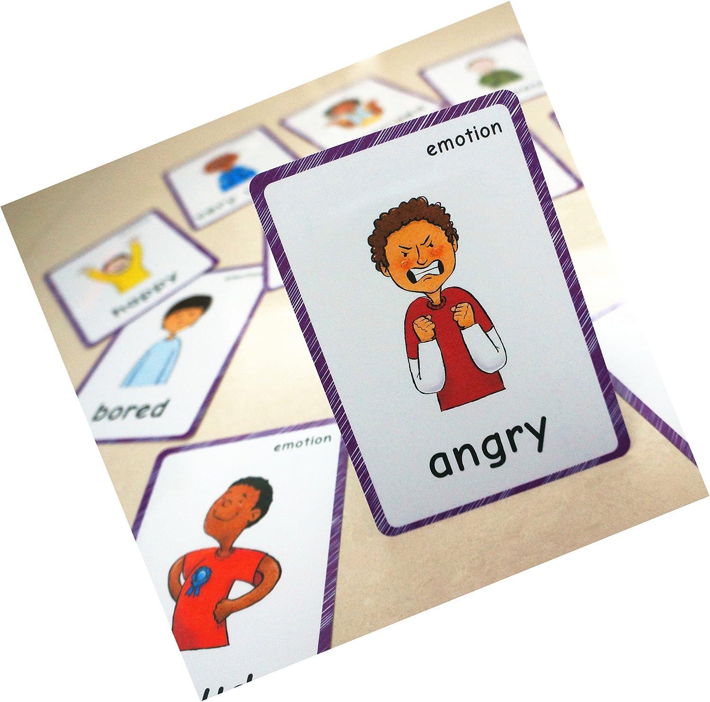 SANTSUN 14 sentimientos emocionantes tarjetas de memoria y afrutación emocional inteligente jardín de infantes decoración de aula fondo pegatinas de pared cada tarjeta flash: Amazon.es: Oficina y papelería