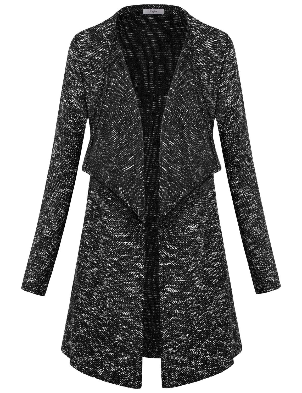 Cestyle Black Cardigan,Open Front Tunic Jacket Sweater Long Sleeve Lapel Neck Two Pockets Dress Cover Up Fine Knit Coverup Tops Modern Business Casual Clothes for Women Large