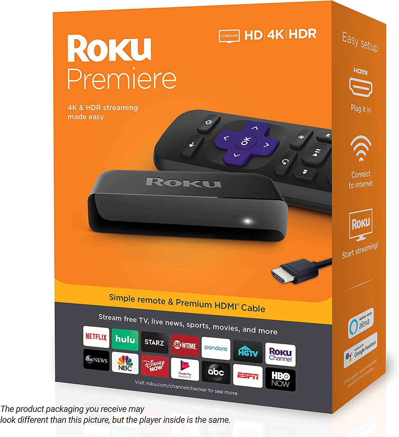 ROKU PREMIERE 3920R HD and 4K UHD MEDIA STREAMER BLACK NEW