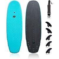 "Hybrid Surfboard (5'5"" Shortboard)-Wax-Free Textured Foam Top Deck & Glass Bottom Deck (6oz Fiberglass) with FCSII Boxes…"