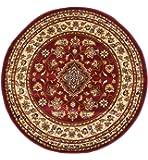 eRugs Tapis rond persan oriental de style classique Motif floral traditionnel rouge 133x 133cm