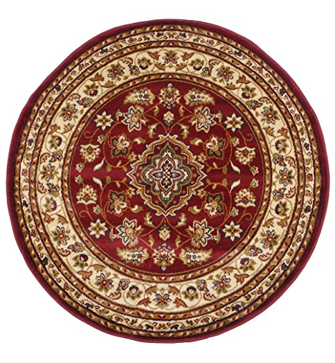 Alfombra redonda roja alfombra redonda rosa de pelo largo - Alfombras redondas ...