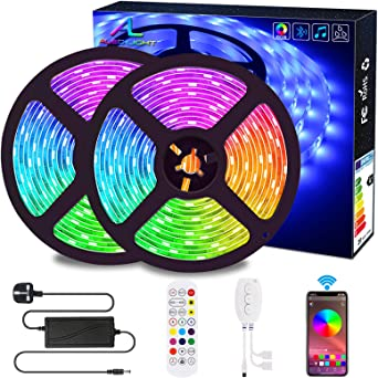 Bluetooth Led Strip Lights Aled Light 10m 2x5m Waterproof Rgb 5050 300 Led Stripes Lights Smartphone Controlled With Bluetooth Controller Remote For Home Garden Outdoor Decoration Amazon Co Uk Lighting