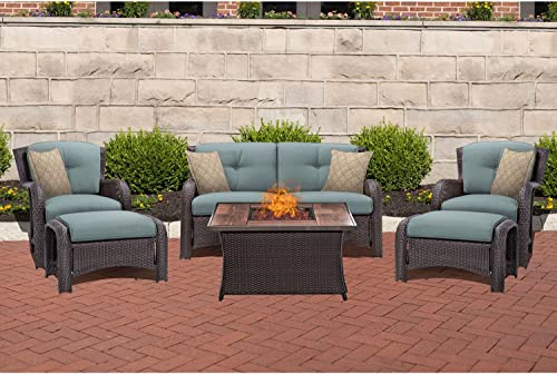 Oakmont 5pcs Outdoor Furniture Patio Conversation Set All Weather Black Brown Wicker Sectional Sofa
