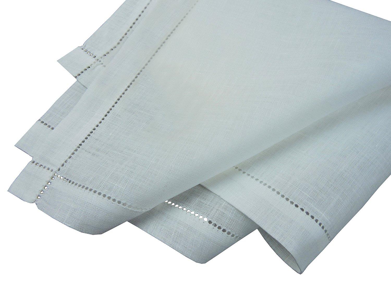 Thomas Ferguson Men's Plain Linen Handkerchiefs Punchspoked (Set of 3) 16.5In Sq White