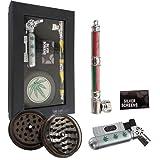 Taffstyle® Geschenkset 4-teiliges Profi Raucher & Kiffer Set im Box / Geschenkverpackung - Raucherset Zubehör - Grinder, Pfeife, Feuerzeug und Siebe