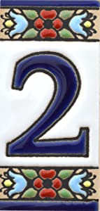 """House numbers 3 inch. Handpainted house number tiles for signs, addresses and names. Address numbers for houses. House address numbers and letters. Design FLORES MINI 2,87"""" x 1,38"""" (NUMBER 2)"""