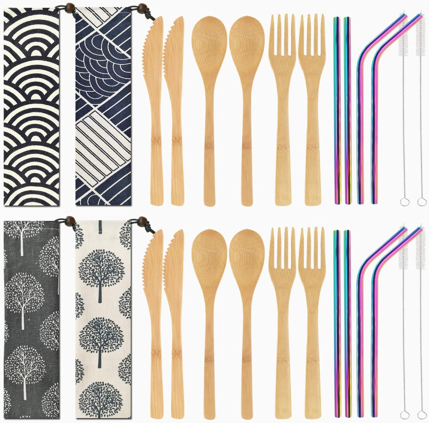 VIKEYHOME 4 Set Bamboo Cutlery Set Reusable Bamboo Utensils Set with Case 7.8 Inches Bamboo Knife Fork Spoon Multi-colors Metal Straw,Portable Utensils for Travel Picnic Office School (Rainbow Straw)