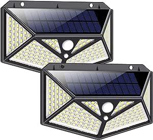 Solar Lights Outdoor, Kilponen 【150LED/3 Mode】 Solar Motion Sensor Lights with 270°Angle IP65 Waterproof Outdoor Solar Security Lighting Wall Light for Deck Garden Fence Patio Garage(2 Pack)