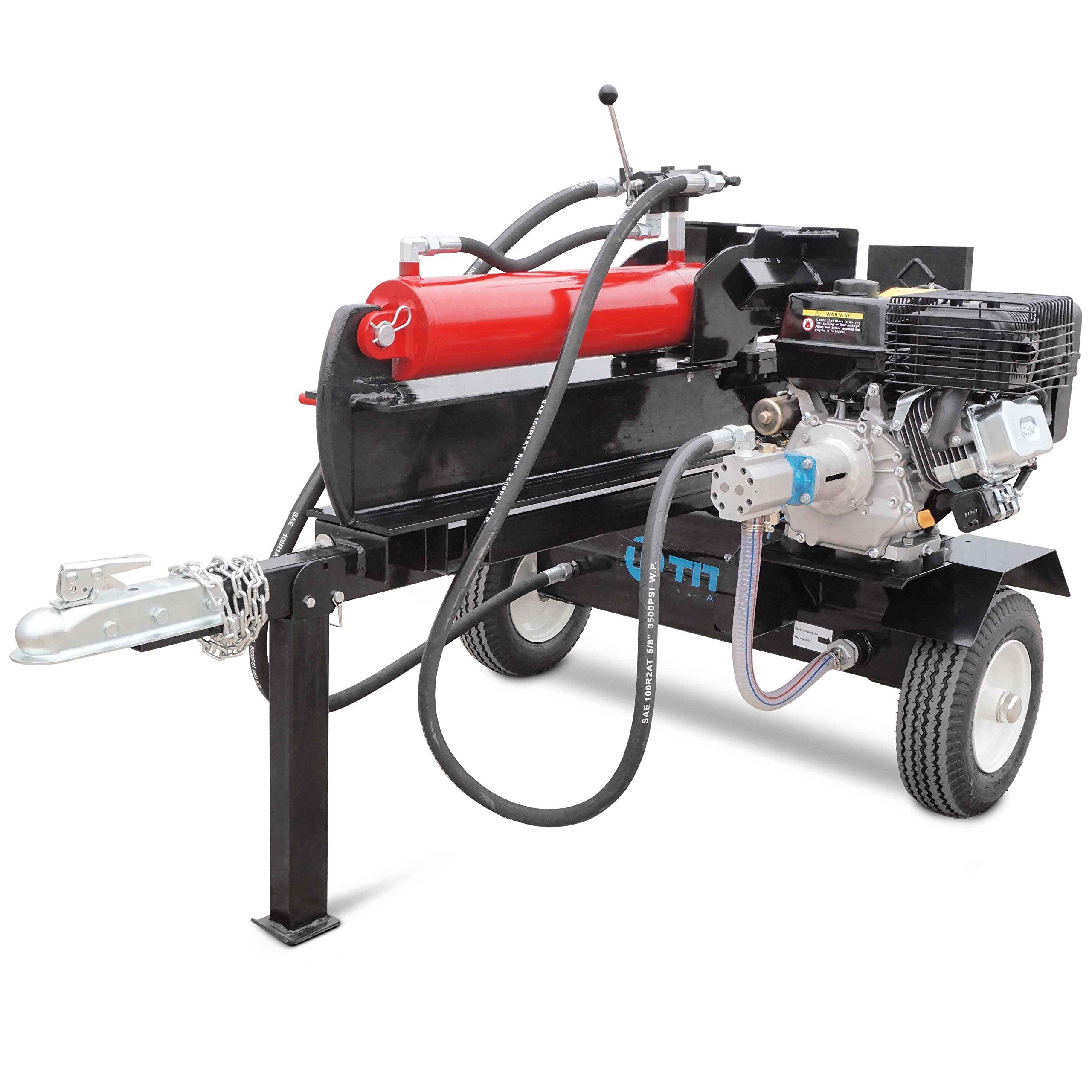 Titan Towable Gas Powered Hydraulic Pivoting Log Wood Splitter 37 Ton Pull Start