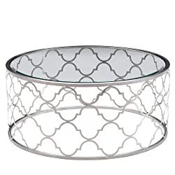 Armen Living LCFLCOGLBS Florence Coffee Table with Clear Glass and Brushed Silver Finish