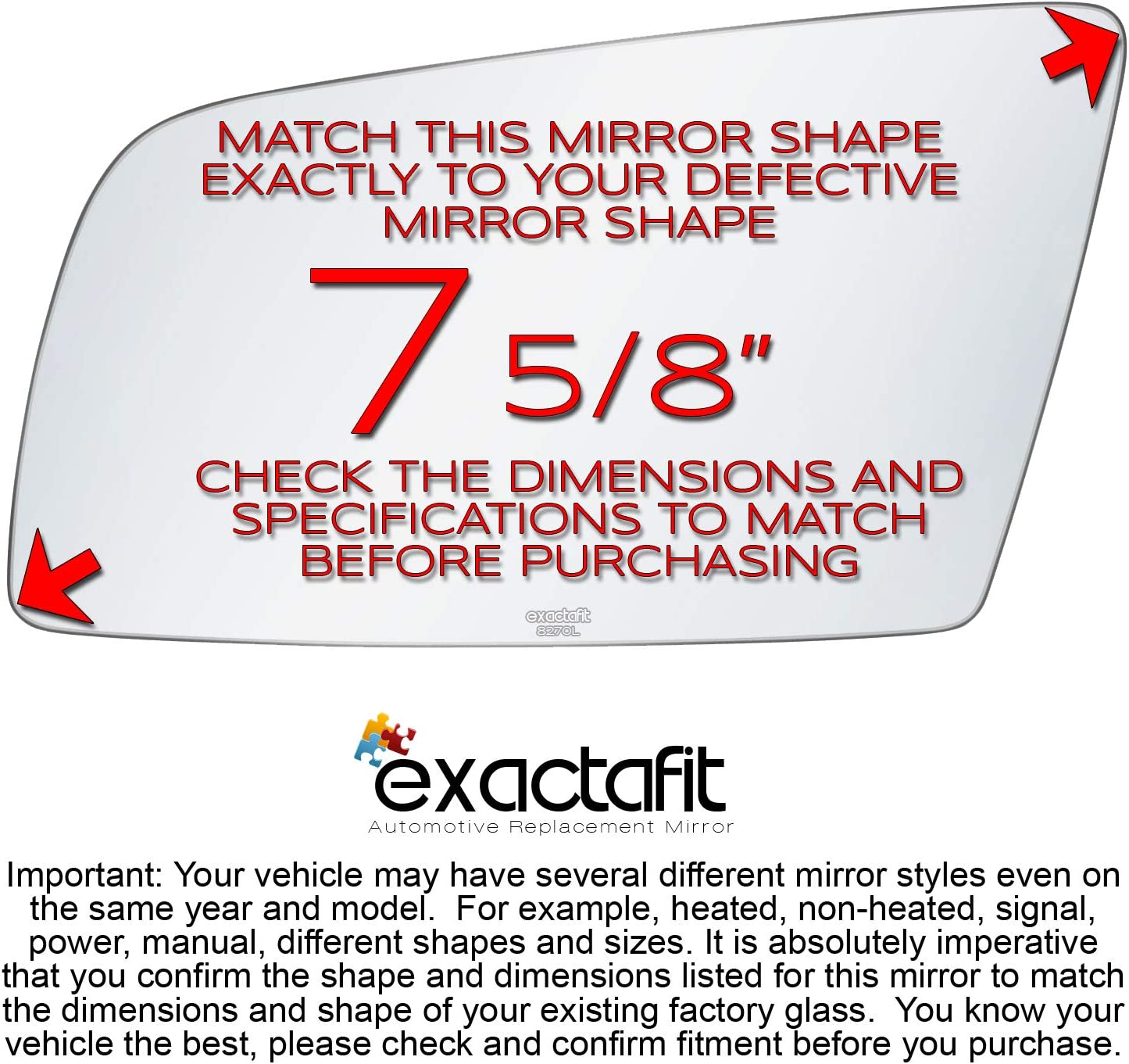 Driver Side Rear View Mirror Glass Replacement Left Hand Fits BMW 525I 530I 545I 645CI by exactafit 8270L Adhesive Install