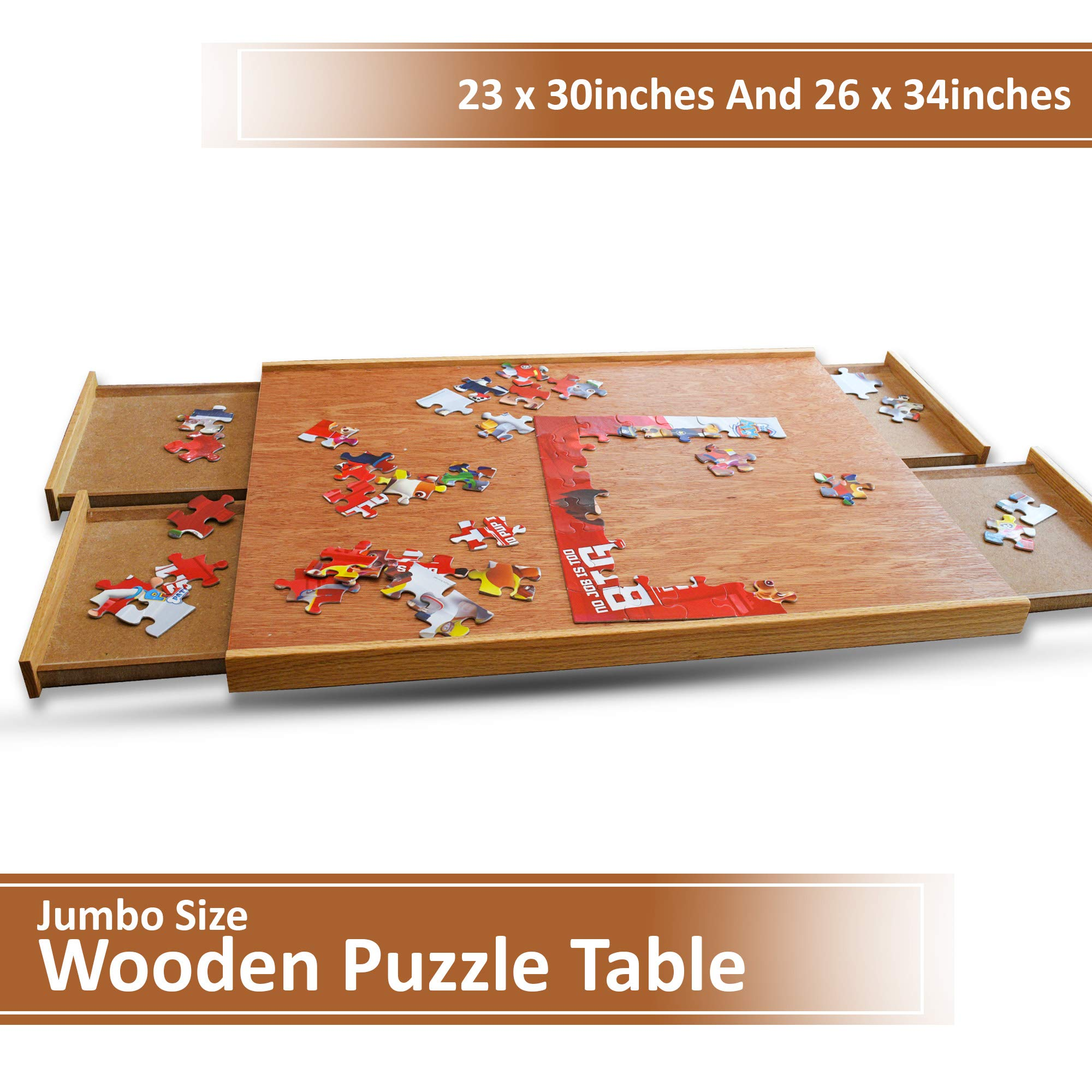 Hardwood Maple Puzzle Plateau Table - Furniture Grade Lacquer Finish - Solid Wood Frame - Four Storage Drawers For Jigsaw Puzzles - Fits Most 1000 Piece Puzzle - 23 X 30 In - Give the Gift of Puzzling by Pinnacle Woodcraft